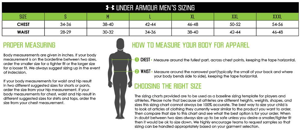 Under armour team sizing ua mens chartg also custom lacrosse uniforms edge elevation sports rh elevationsports