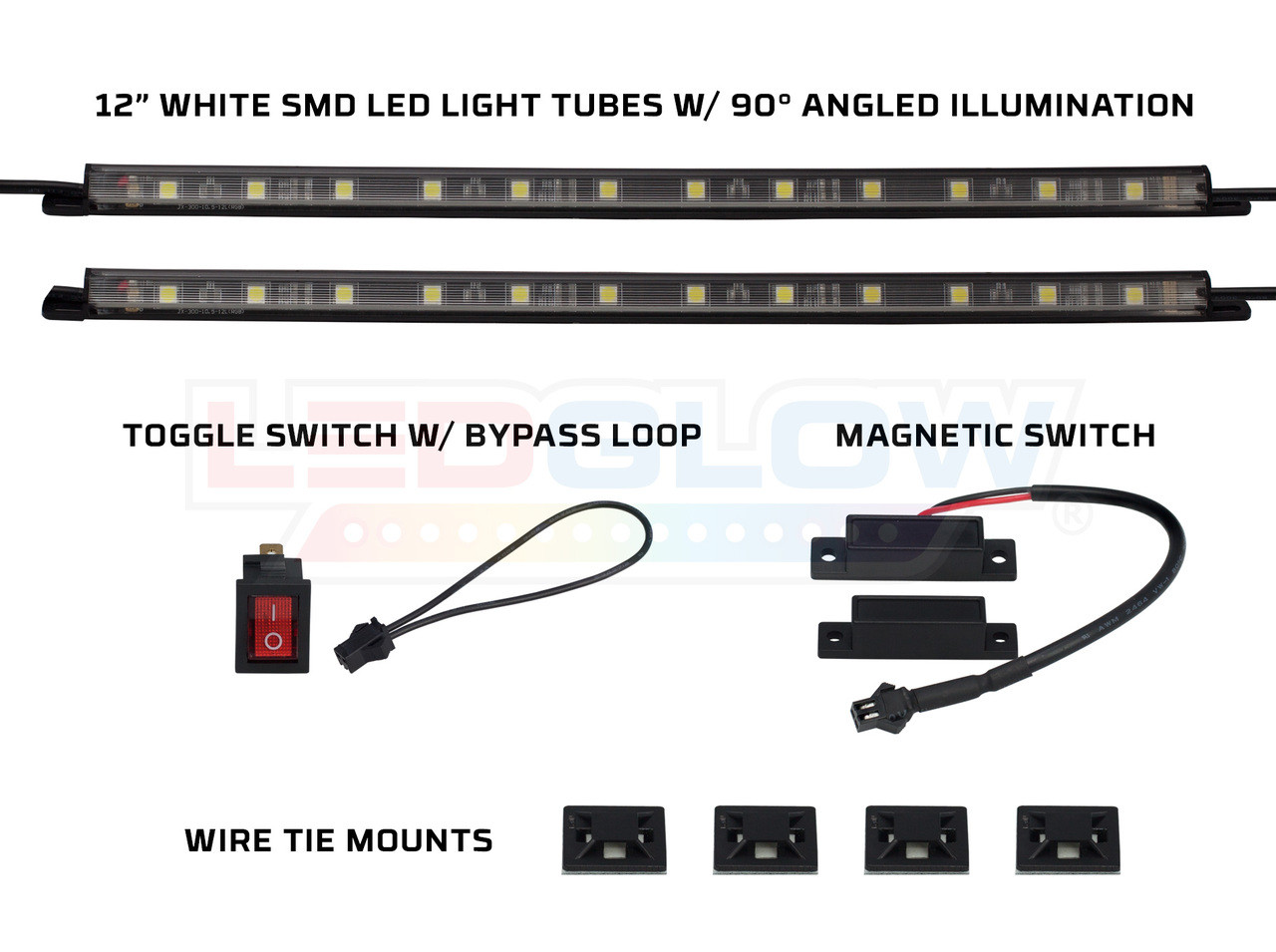 hight resolution of 2pc 12 white smd led light tubes toggle switch magnetic switch