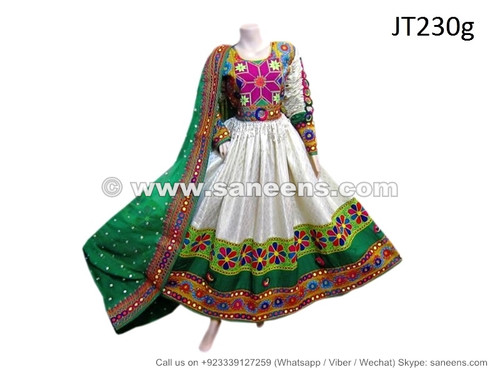 Hand Embroidered Afghan Pashtun Wedding Dress Gown In