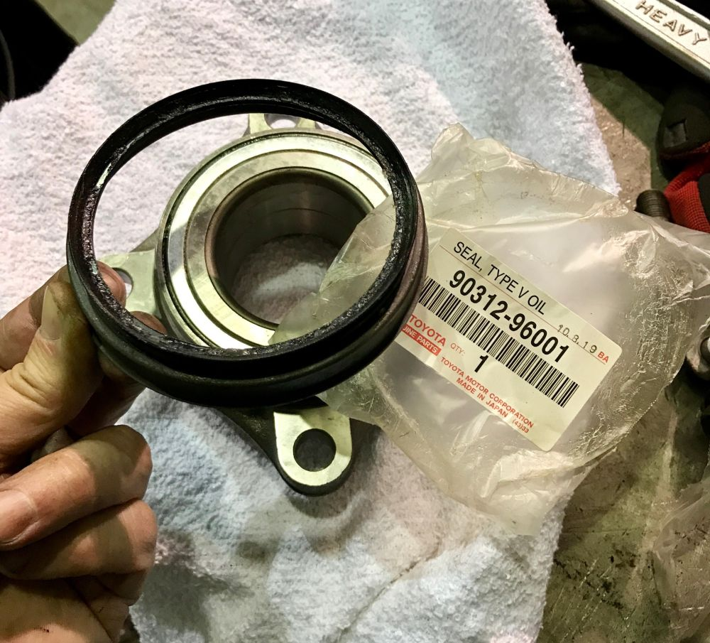 medium resolution of lip seal between the hub spindle and the bearings toyota part number shown