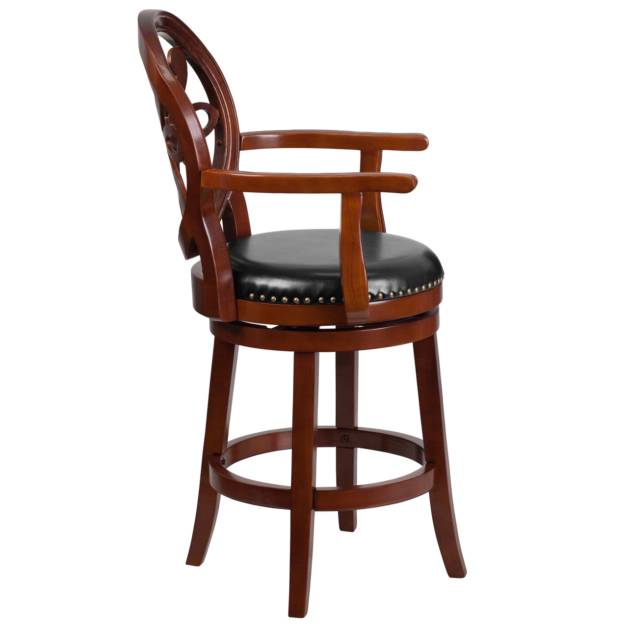 Counter Height Chairs With Arms Flash Furniture 26 High Cherry Wood Counter Height Stool With Arms Carved Back And Black Leather Swivel Seat