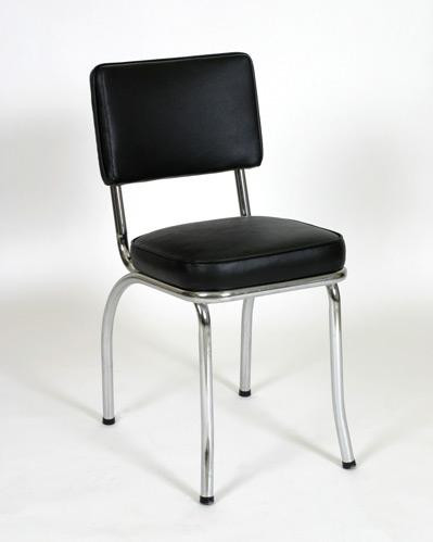 retro chrome chairs swivel chair technology 50 s diner seats stools classic 1 in black vinyl and