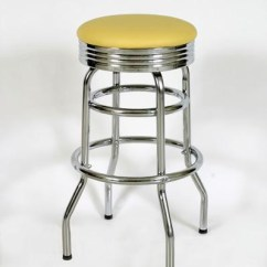 Chair Stool Retro Cheap Acrylic Chairs Chrome Bar Stools Diner Seats And Double Ring With Band Seat In Yellow Vinyl