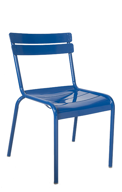 outdoor aluminum chairs teak dining blue metal stacking seats and stools this ladder back chair in is eye catching durable