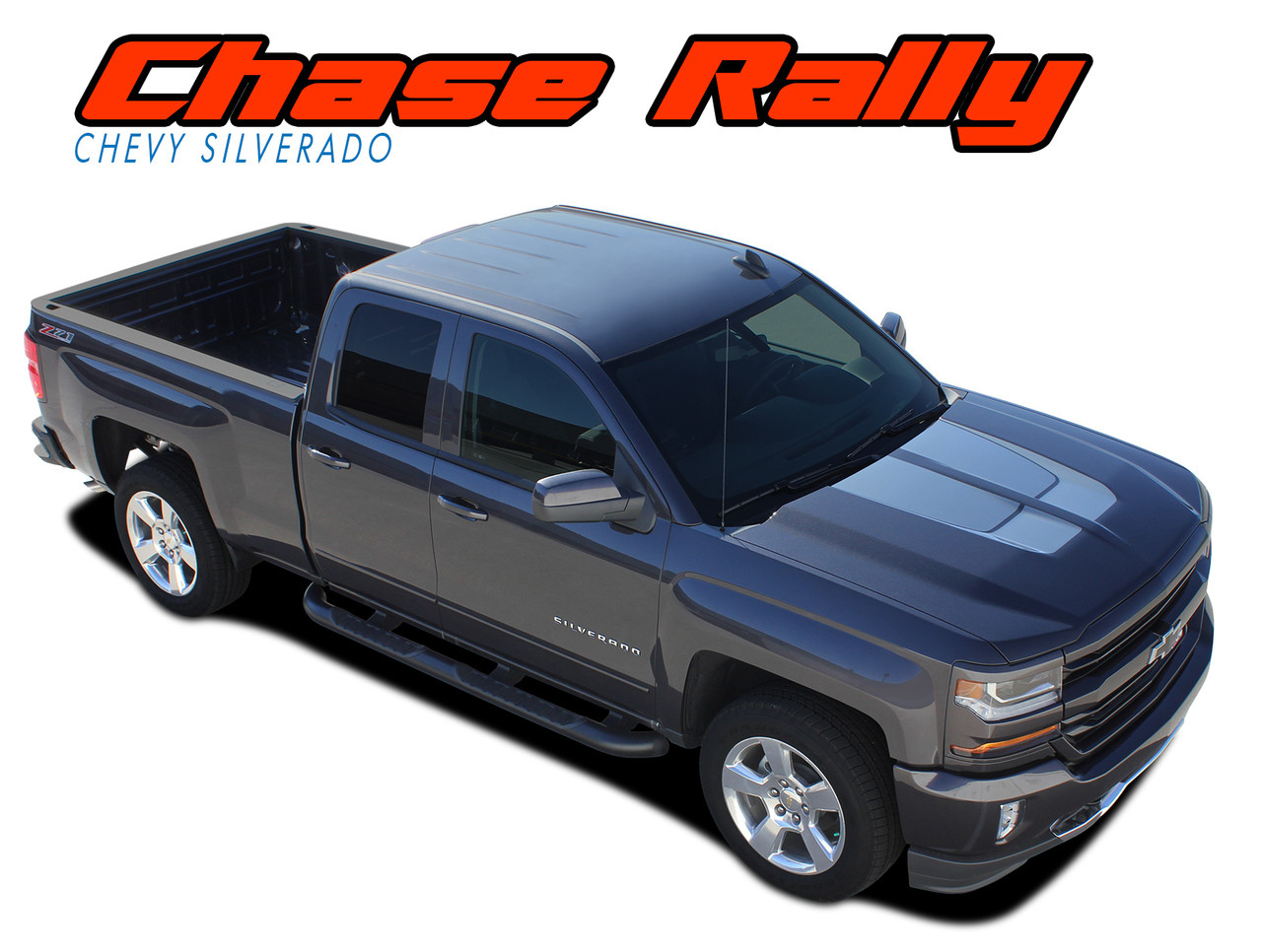 chase rally 2016 2017 2018 chevy silverado rally edition style hood tailgate vinyl graphic decal racing stripe kit vgp 3941  [ 1280 x 966 Pixel ]