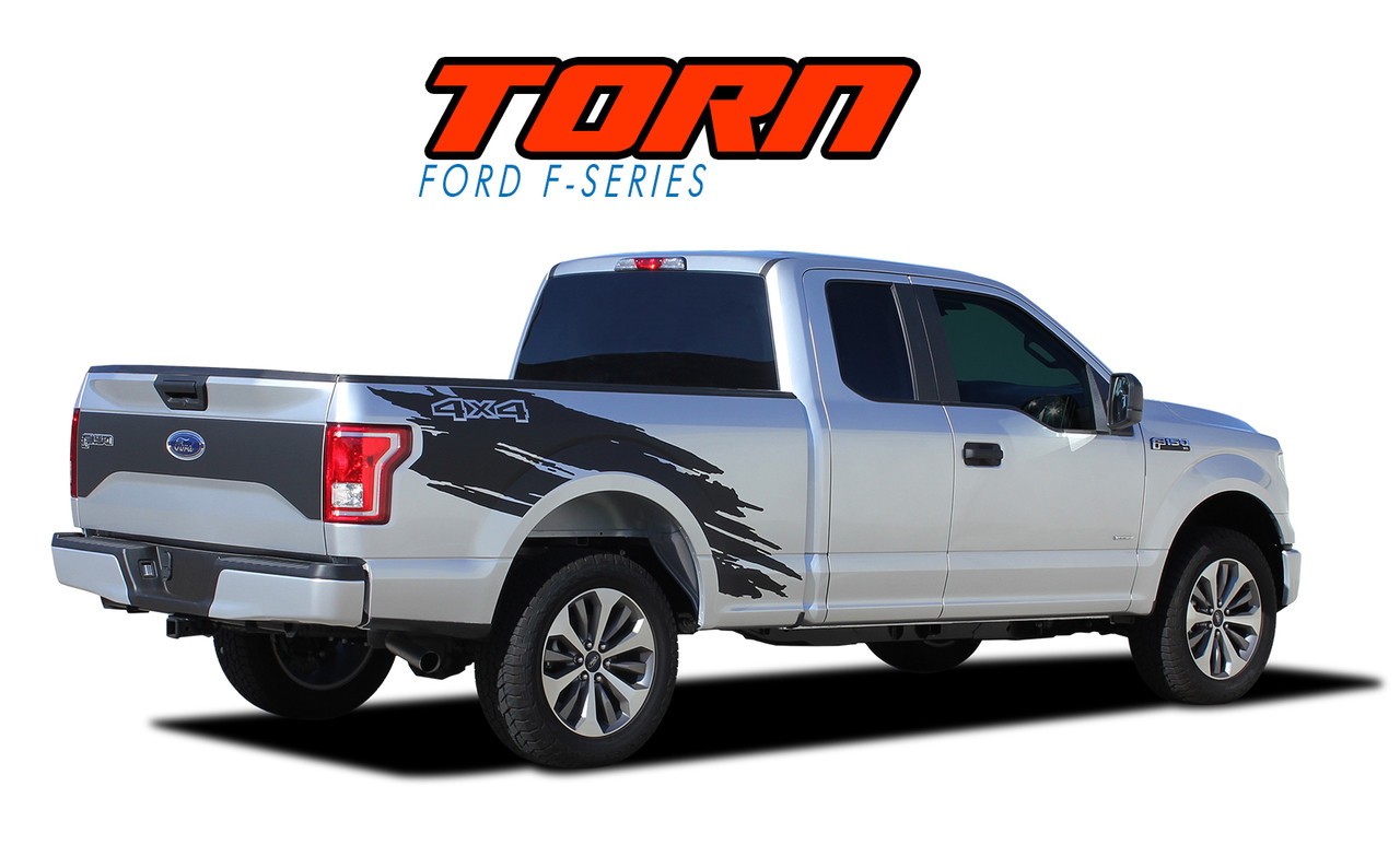 medium resolution of torn 2015 2019 ford f 150 mudslinger side truck bed 4x4 vinyl graphics and decals striping kit vgp 4778