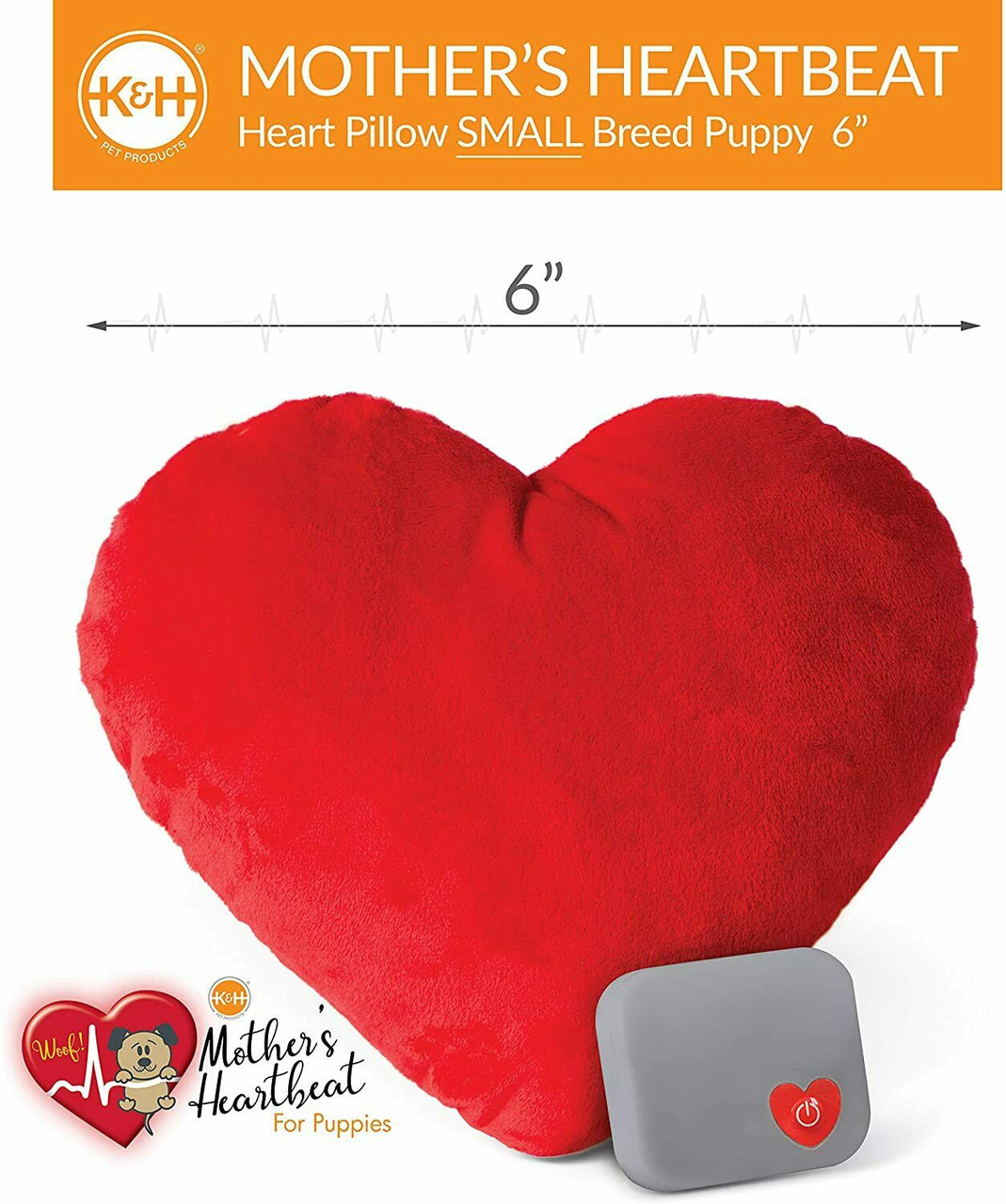 k h pet mother s heartbeat plush dog heart pillow small red 6 x 5