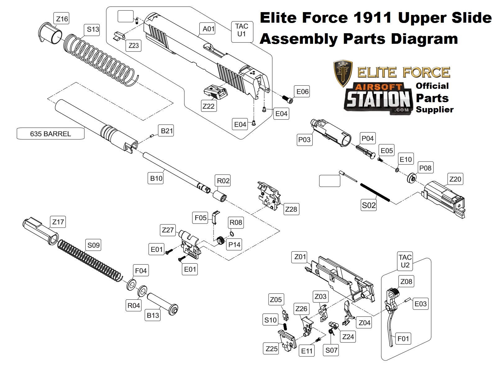 small resolution of airsoft station umarex 1911 upper slide assembly parts