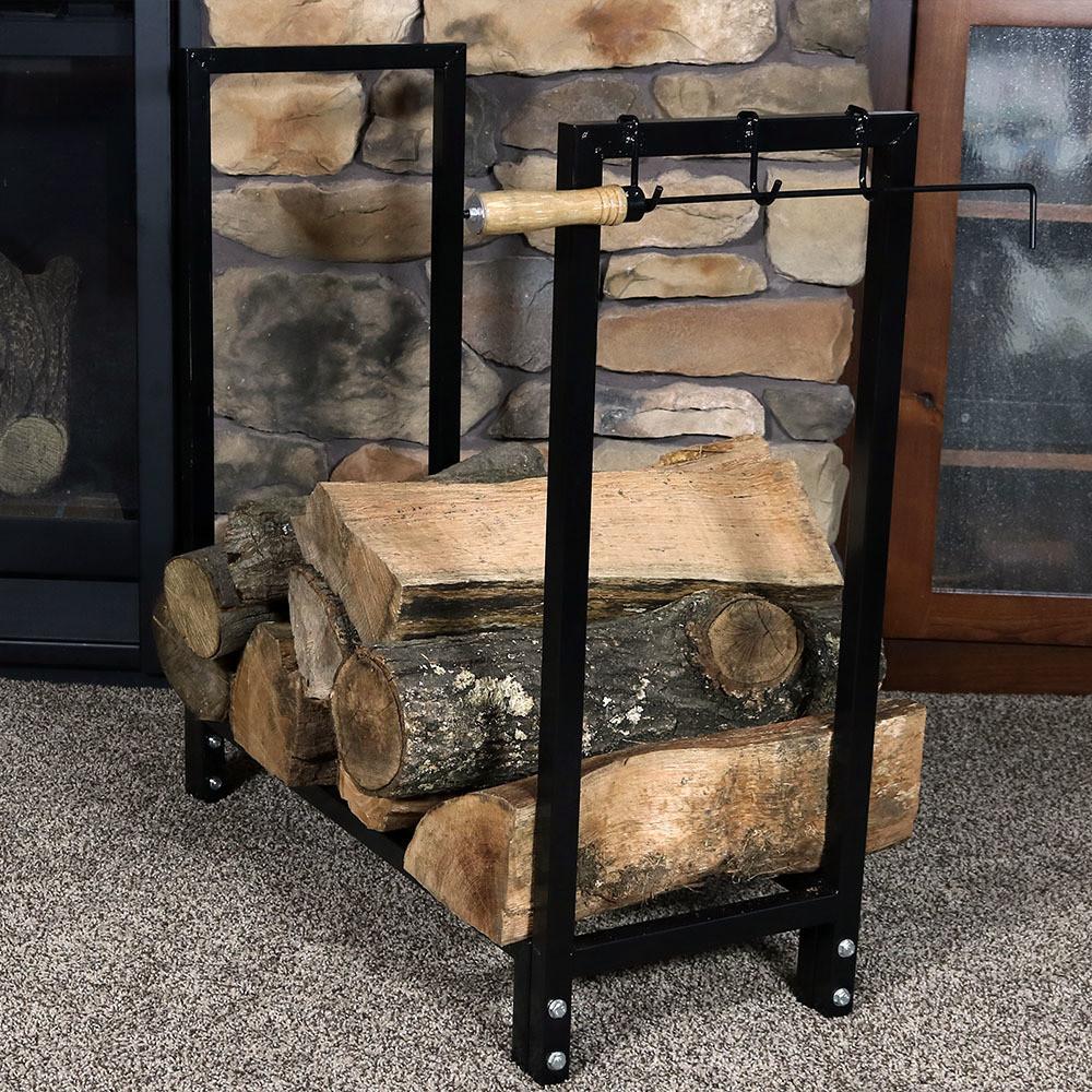 sunnydaze 30 black steel firewood log rack and cover combo