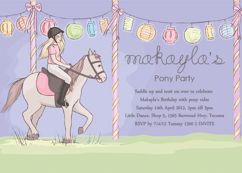 girls party invitation girls pony party