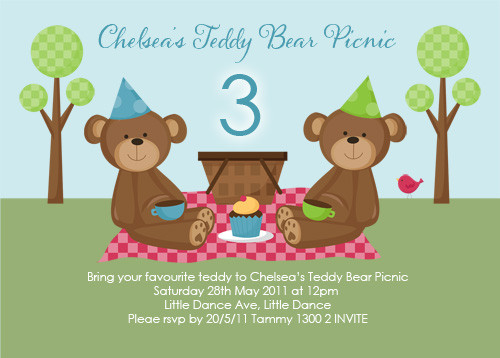 invitations teddy bear picnic party