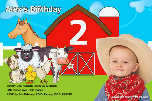 themed kids birthday party invitation animal farm barnyard