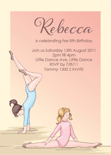 themed party invitations gymnastics invitation