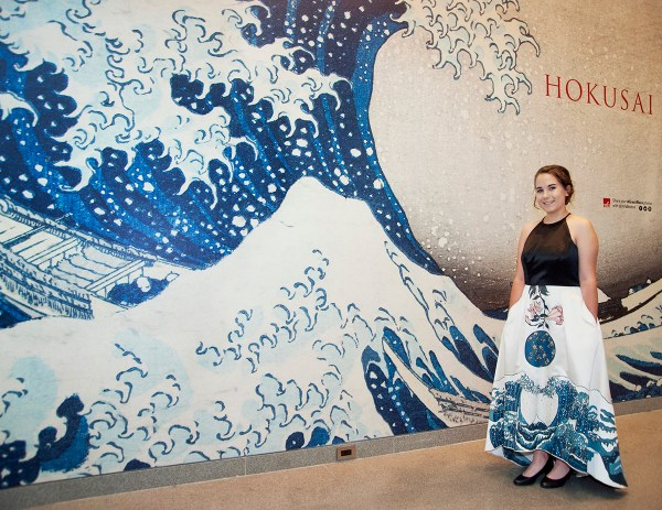Local Teenager Painted Prom Dress With Works Hokusai