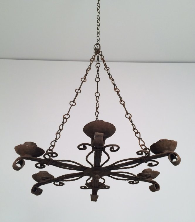 Wrought Iron Chandelier With 5 Candle Holders 1920s