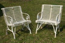 French Wrought Iron Garden Chairs With Armrests 1990s