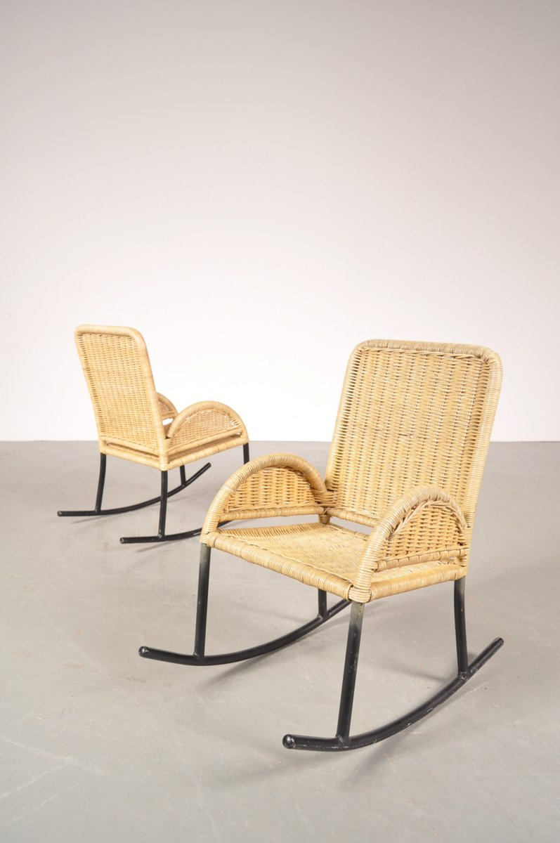 Wicker Rocking Chair Children S Wicker Rocking Chairs 1950s Set Of 2