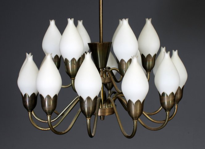 Large Chandelier With Glass Tulips From Fog Mørup 1960s