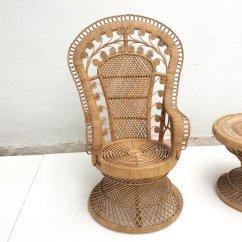 Vintage Peacock Chair Zebra Print Bean Bag Indonesian Rattan And Table 1970s