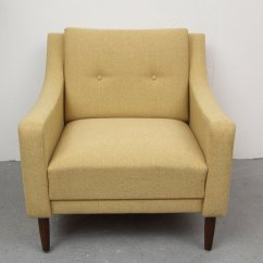 Yellow Club Chair Leather Strap Mid Century Modern German 1950s For Sale At Pamono