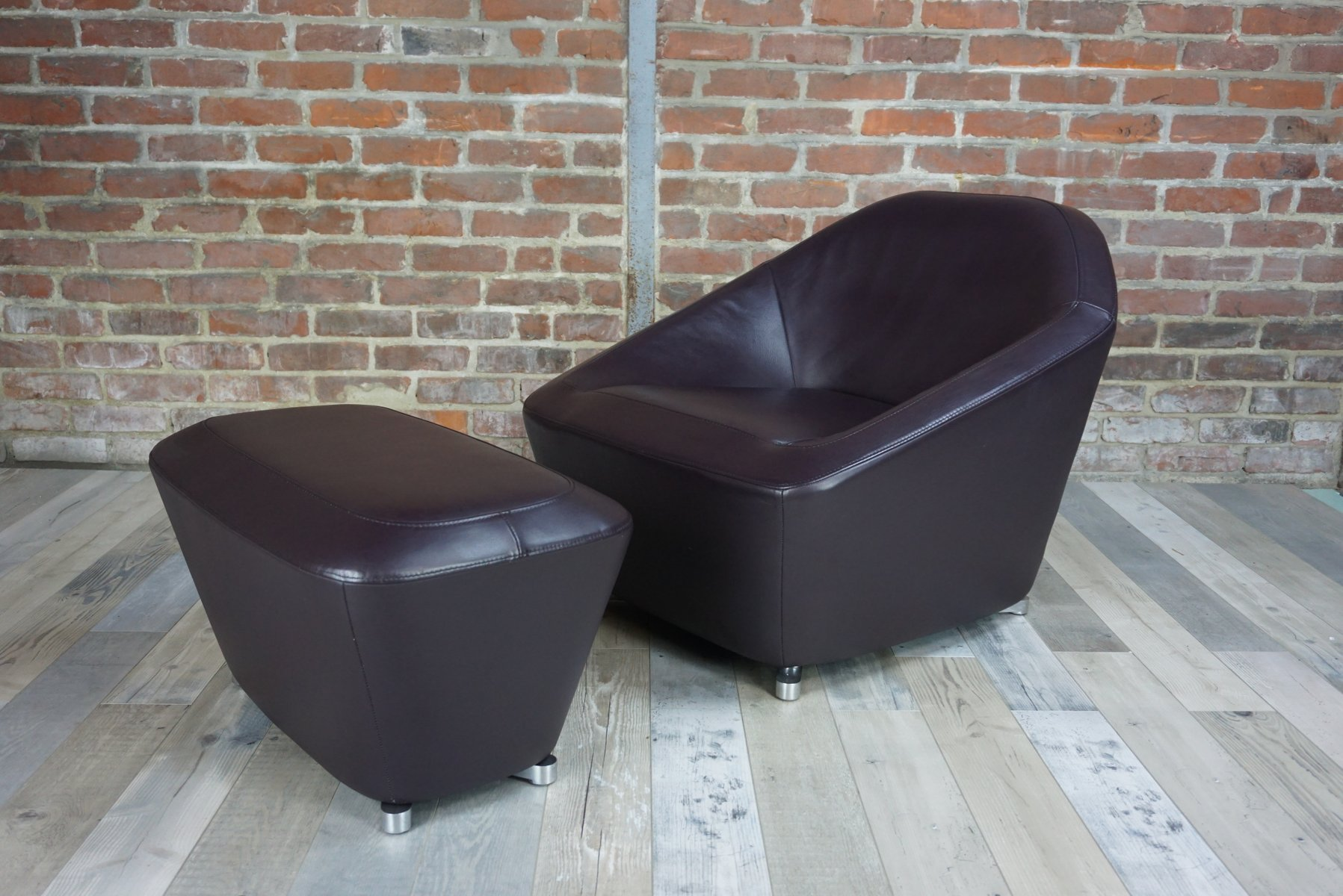 Leather Chairs With Ottoman Vintage Leather Lounge Chair Ottoman By François Bauchet