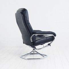 Black Leather Swivel Lounge Chair Game Room Table And Chairs In 1970s For Sale At Pamono