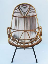 Mid-century Rattan High Back Chair for sale at Pamono