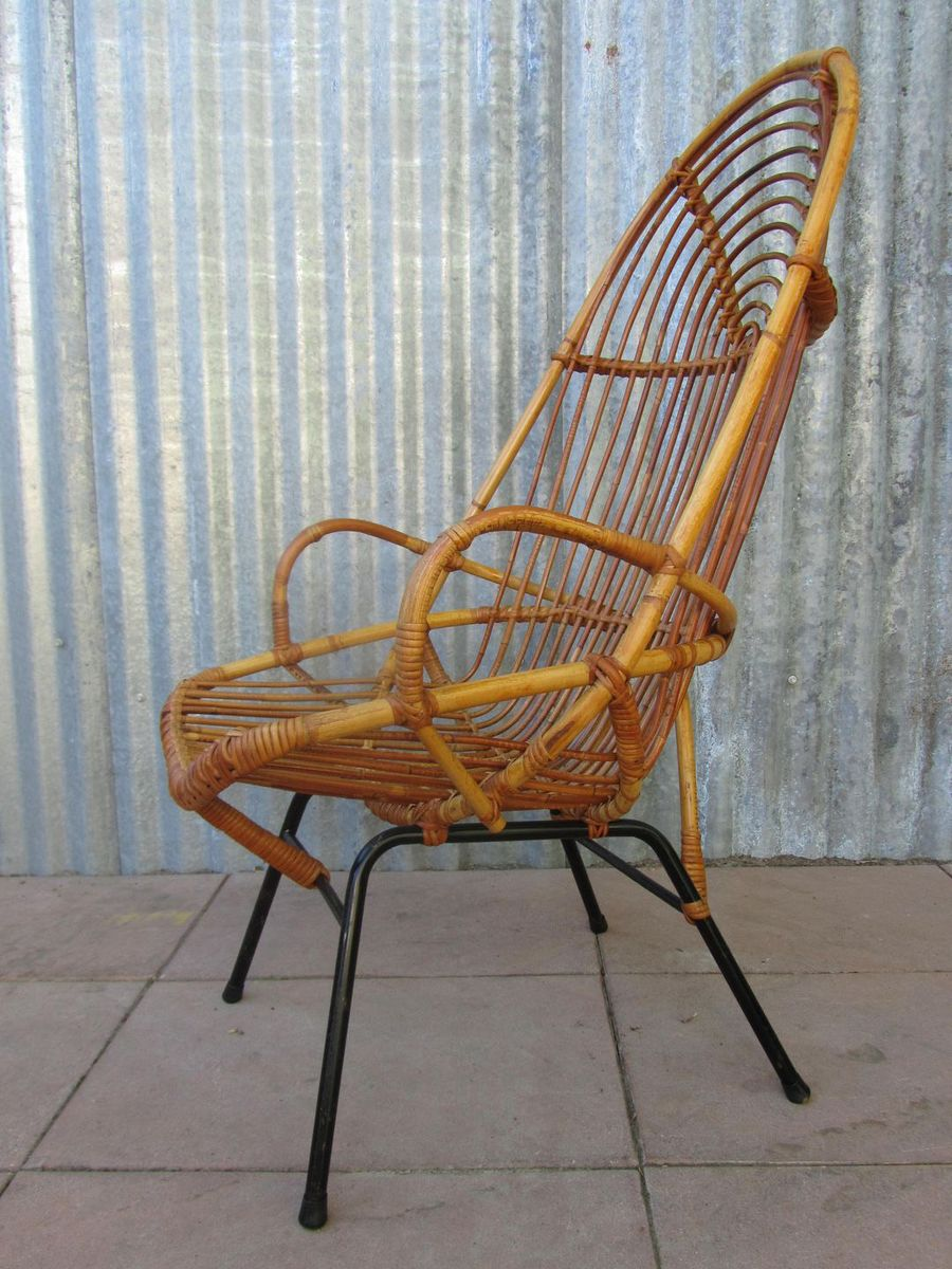 Midcentury Rattan High Back Chair for sale at Pamono