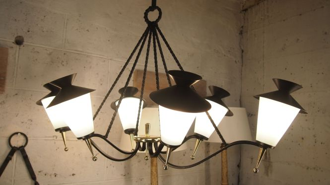 Mid Century French Lantern Chandelier From Maison Arlus 1958