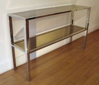 Mid-Century Italian Rectangular Brass and Glass Console ...