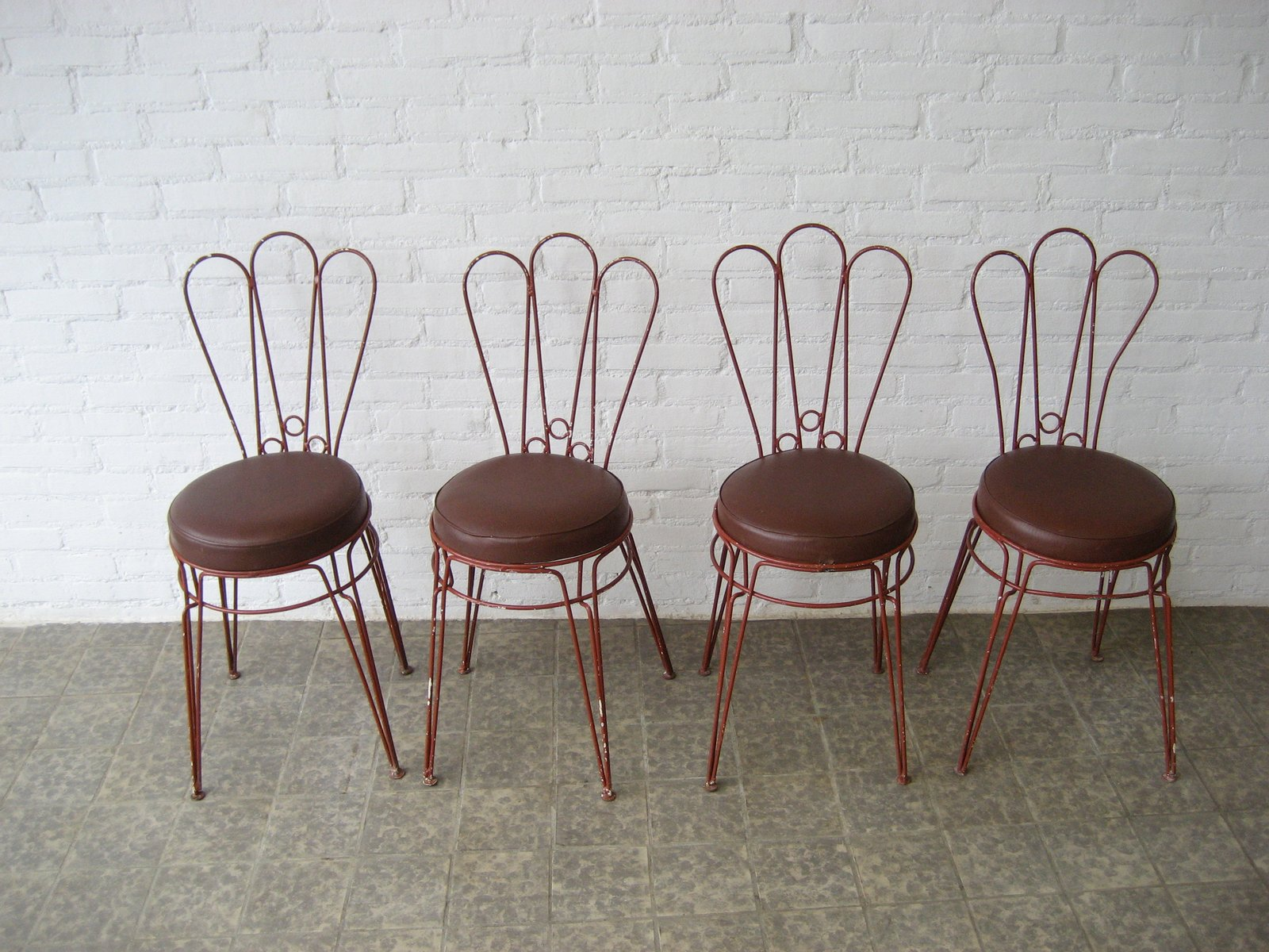 antique metal chairs for sale triple papasan chair vintage with upholstered leatherette