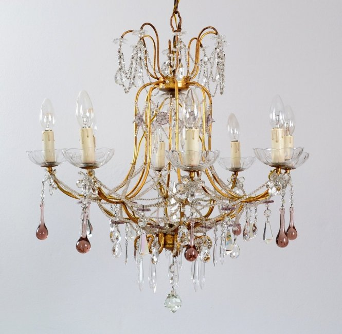 Italian Gilt And Crystal Chandelier With Lilac Murano Drops Beaded Glass Chains 1950s