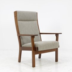 High Back Easy Chair Brown Leather With Ottoman Vintage Ge181a By Hans J Wegner For