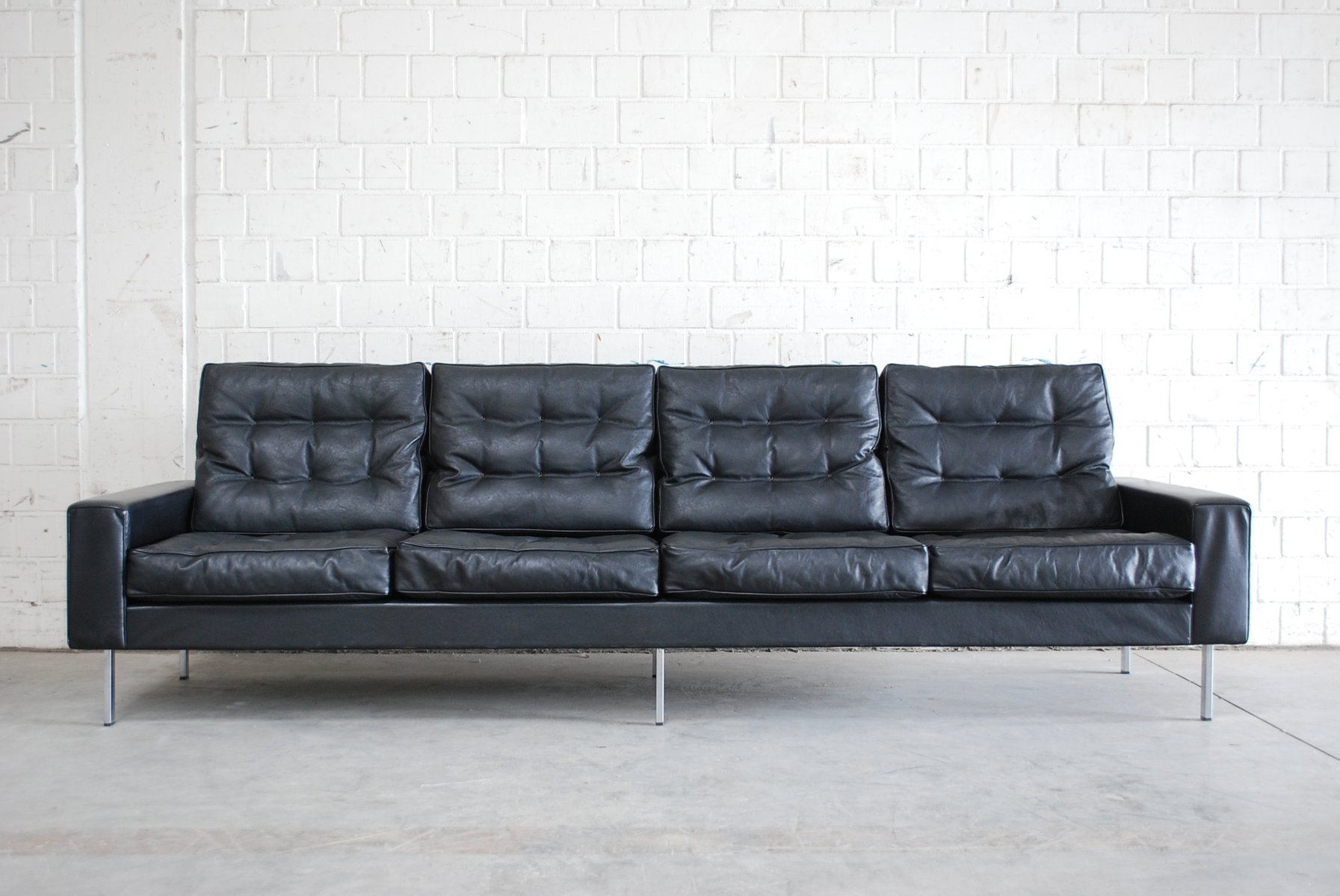 leather sofa manufacturers italy recliner in bangalore vintage black 4-seater from de sede, 1967 for ...