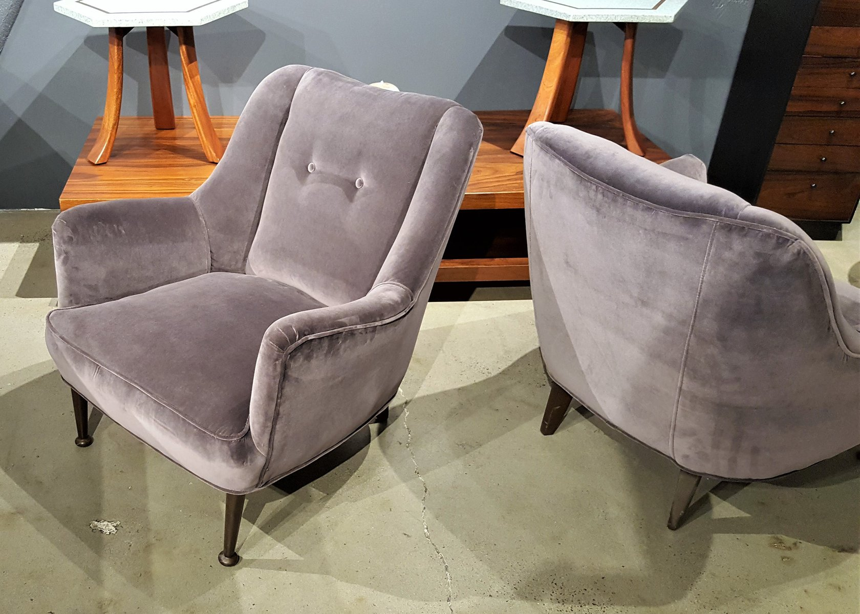 modern lounge chairs uk furniture row mid century in deep lilac gray velvet