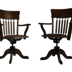 Swivel Chair Mechanism Suppliers Cheap Barber Chairs American Oak Desk 1930s Set Of 2 For Sale