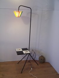 Vintage Floor Lamp with Magazine Holder & Table for sale