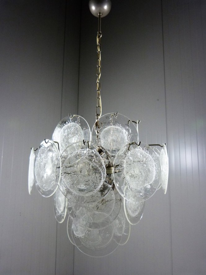 Vintage Glass Disc Chandelier From Vistosi