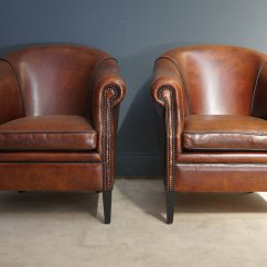 Leather Club Chairs For Sale Bye Baby High Vintage Cognac Set Of 2 At