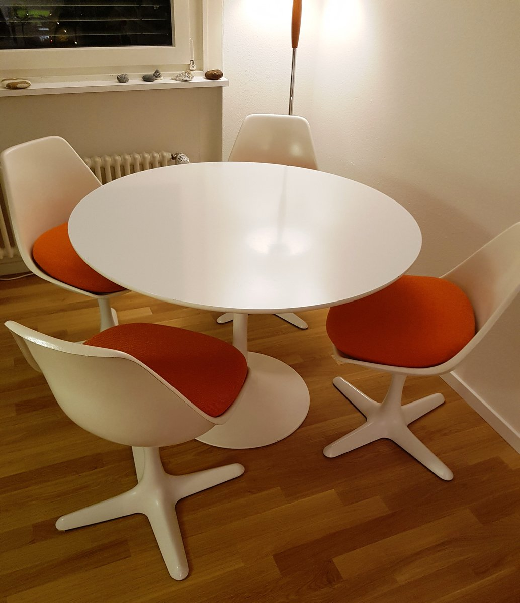 tulip table and chairs uk chair at end of bed vintage 4 by maurice burke for arkana
