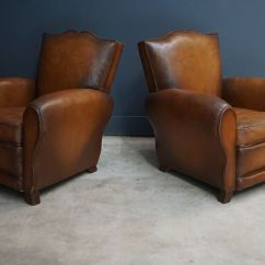 French Club Chairs For Sale Wing Chair Covers Canada Cognac Moustache Back Leather 1940s