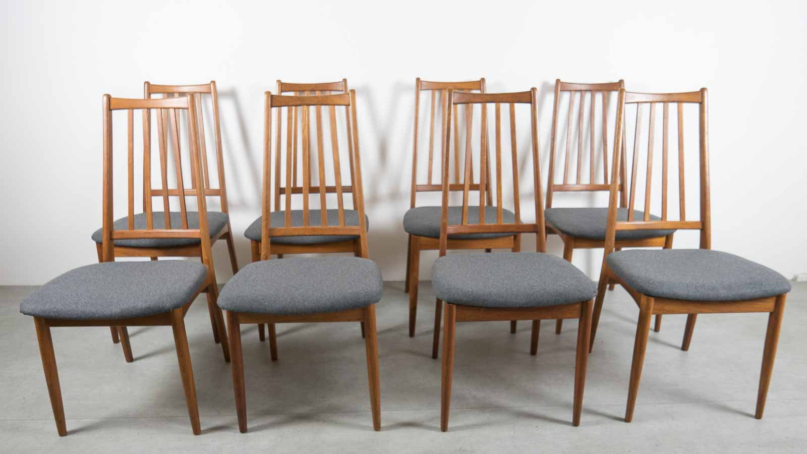 set of 8 dining chairs portable high chair vintage danish back for sale