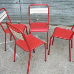 Green French Bistro Chairs Accent Under 200 2 Vintage Metal Set Of 4 For Sale At