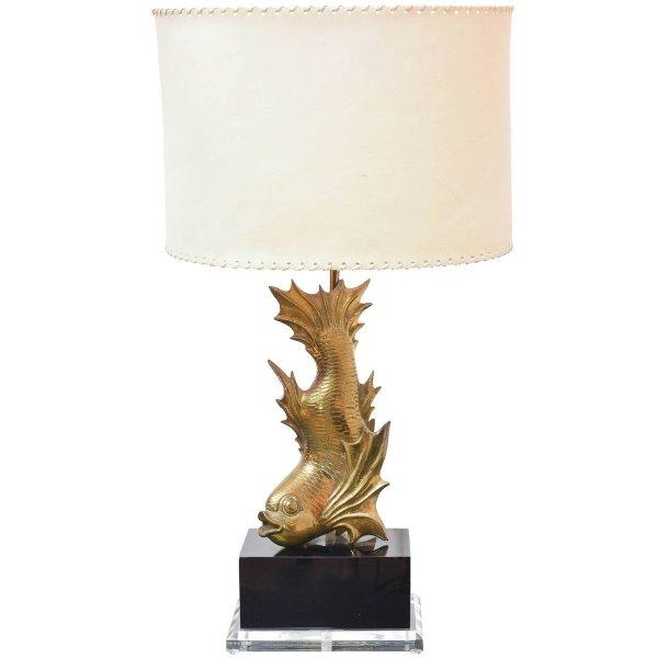 Gilt Brass Fish Table Lamp 1970s Pamono