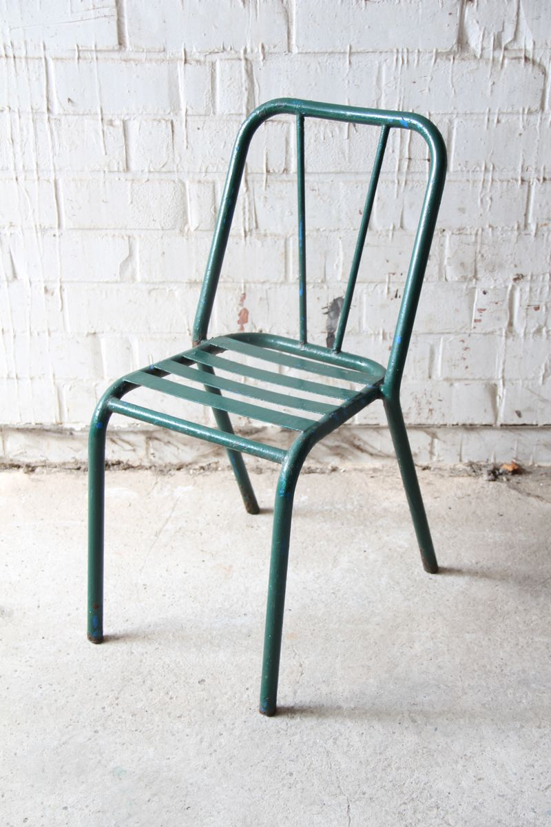 Vintage Green Metal Bistro Chair 1940s for sale at Pamono