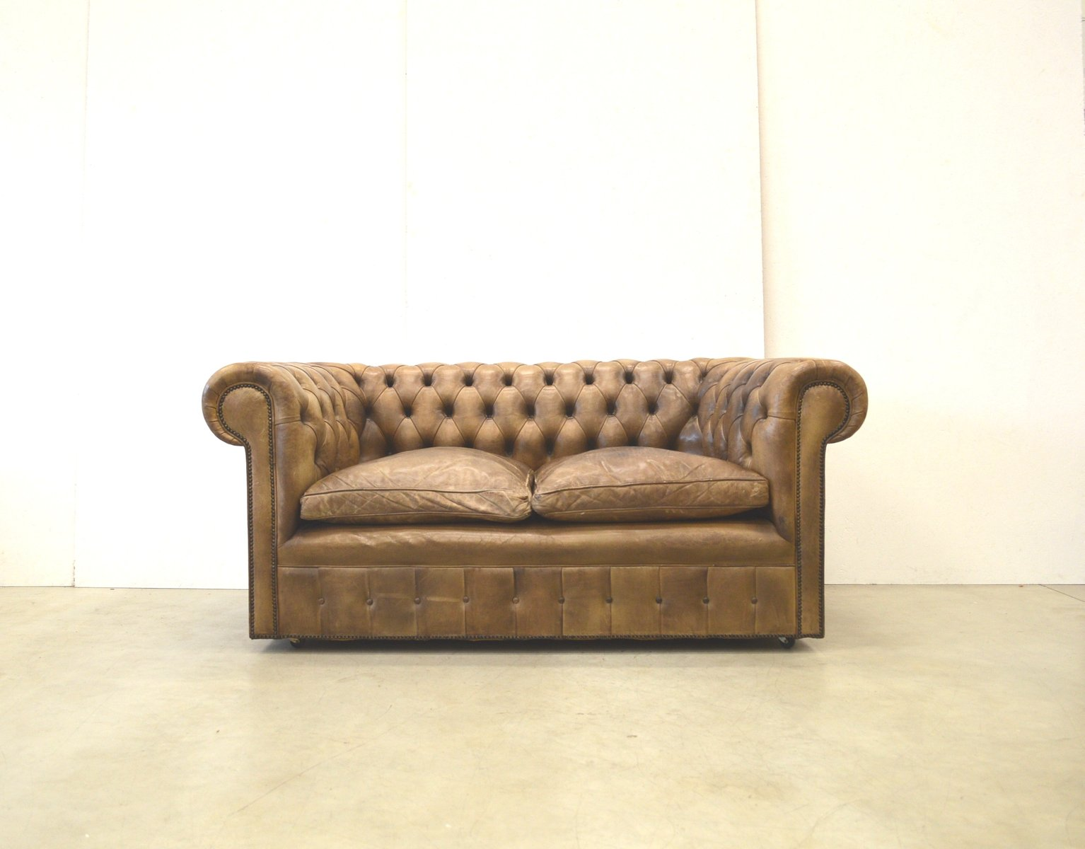 where to get leather sofa in singapore 10ft table english brown chesterfield two-seater sofa, 1960s ...