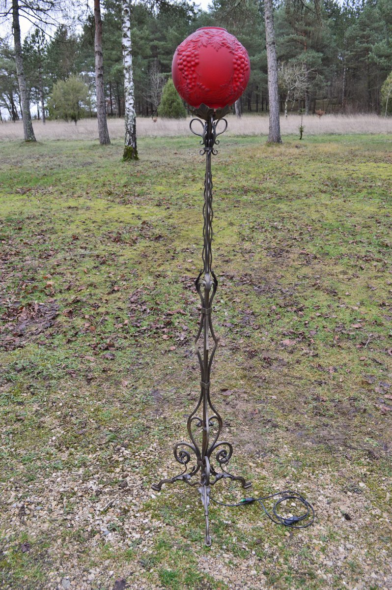 Vintage Tripod Floor Lamp in Wrought Iron for sale at Pamono