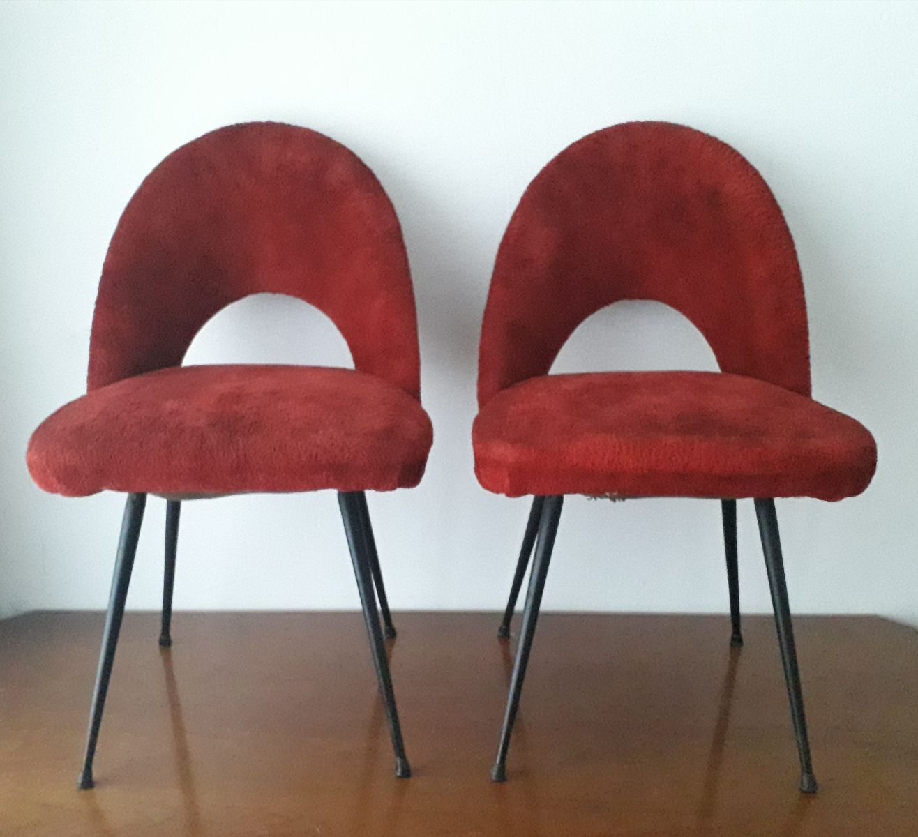 Plush Chairs French Plush Side Chairs 1950s Set Of 2