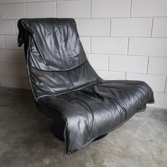 Black Leather Swivel Lounge Chair Ergonomic Bedroom Vintage Large With