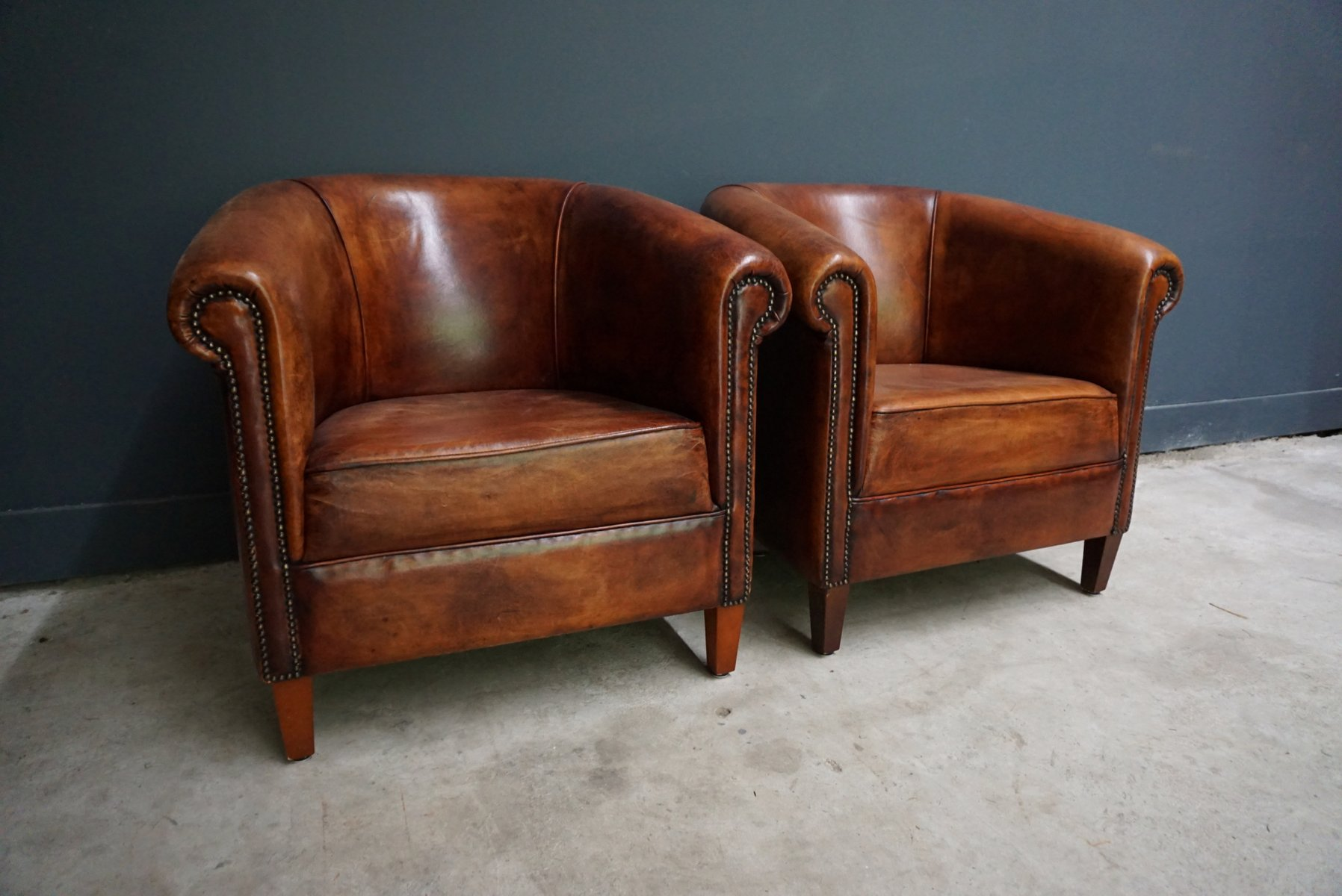 Vintage Club Chairs Vintage Dutch Cognac Leather Club Chairs Set Of 2 For